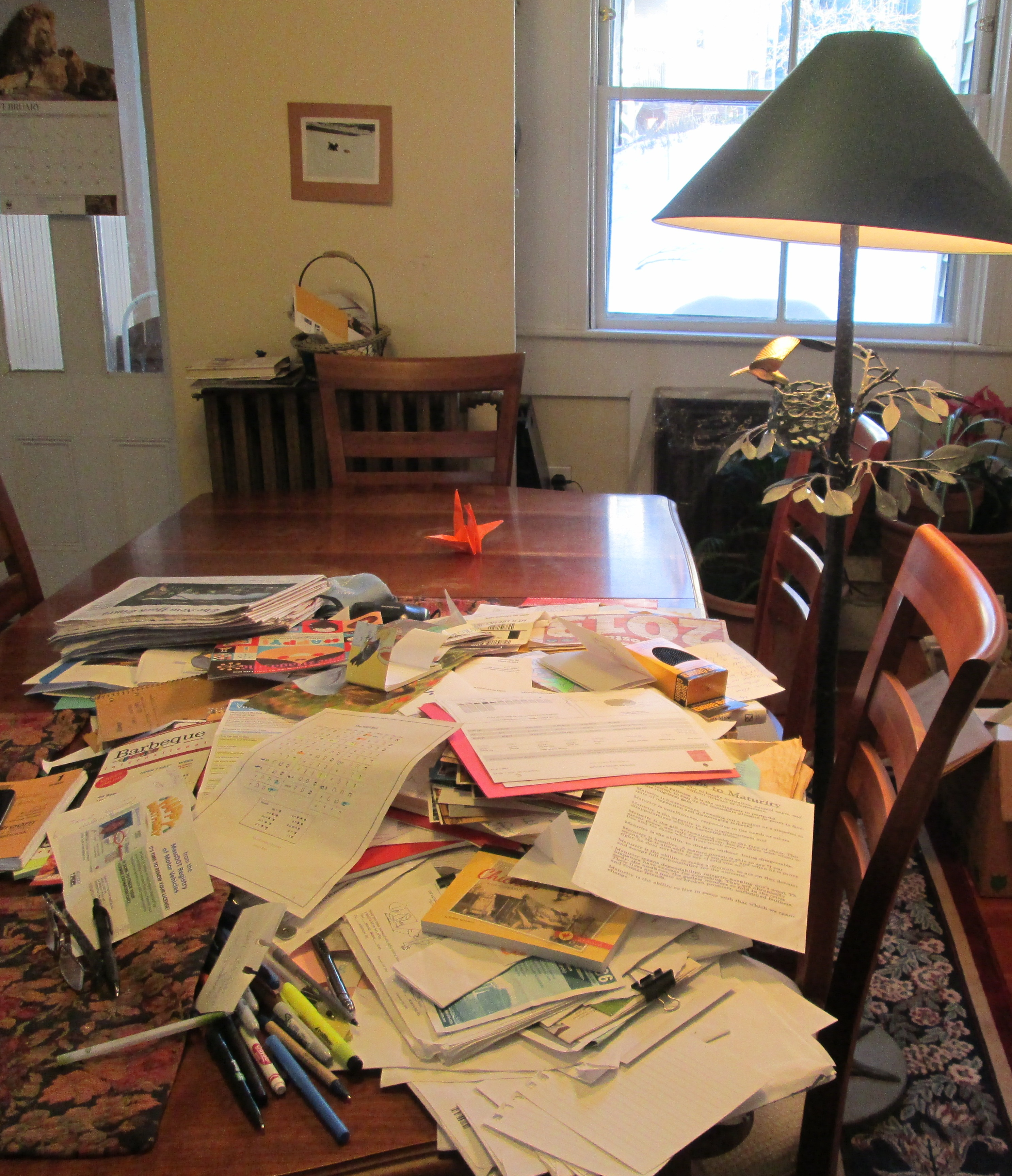 cluttered table