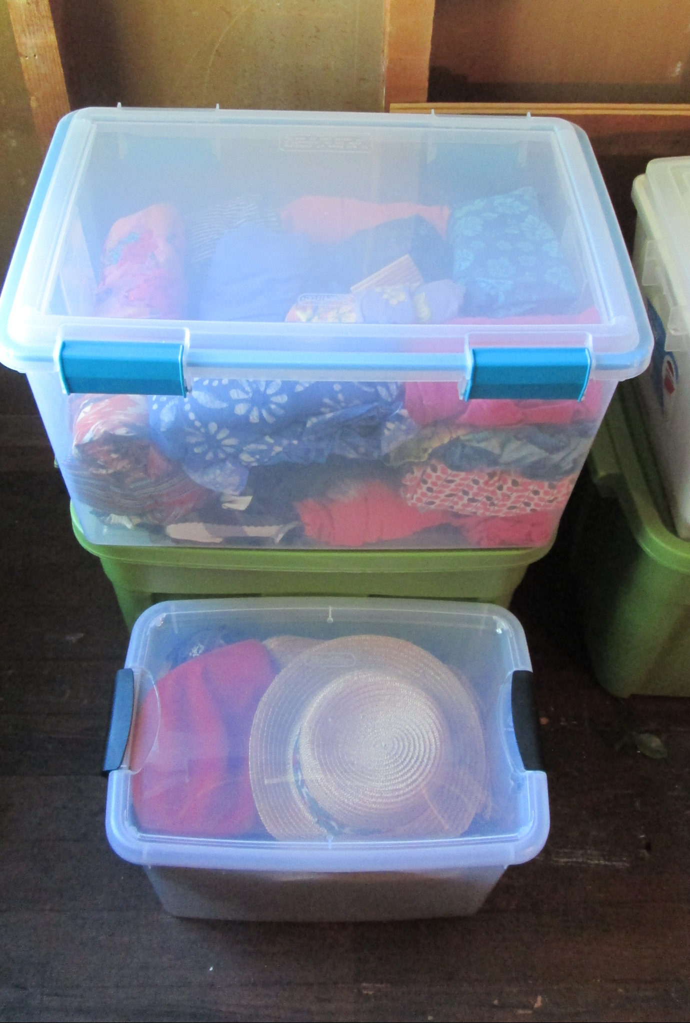 clothes in plastic container