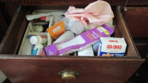 cluttered junk drawer
